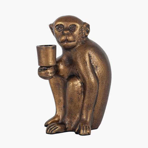 Antique Brass Metal Monkey Candlestick