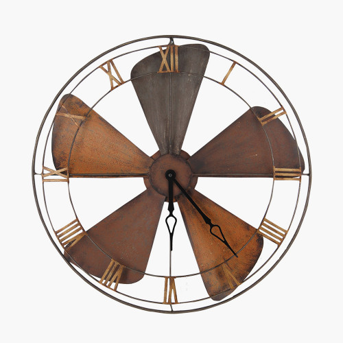 Fan Design Round Metal Wall Clock