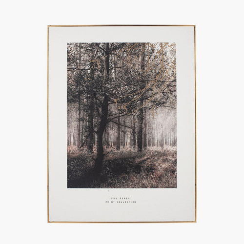 Mono Forest Trail Print with Gold Detail