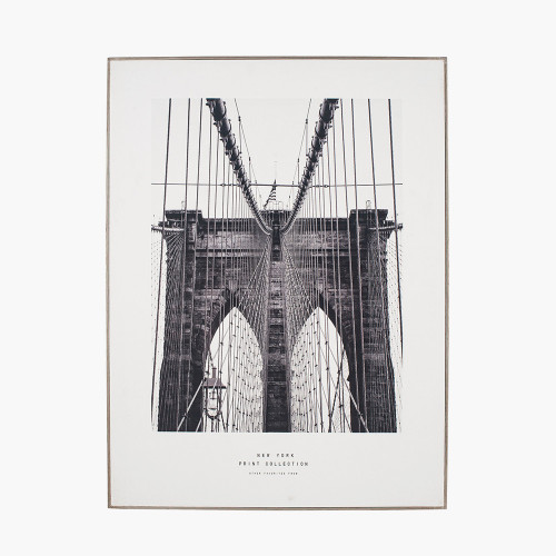 Mono New York Print with Silver Frame