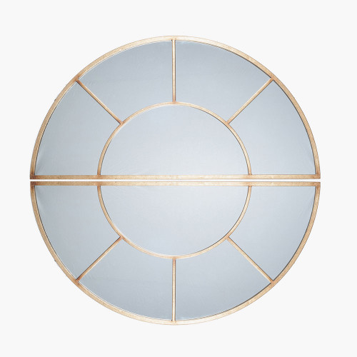 Antique Gold Metal 2 Oval Section Wall Mirror