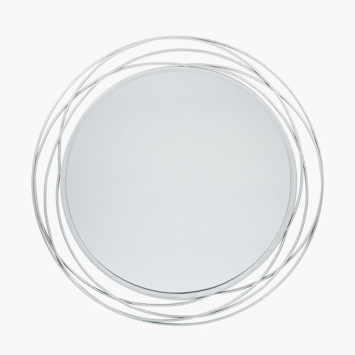 Antique Silver Metal Round Wall Mirror