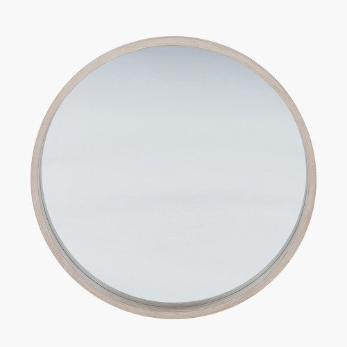 Natural Wood Round Wall Mirror