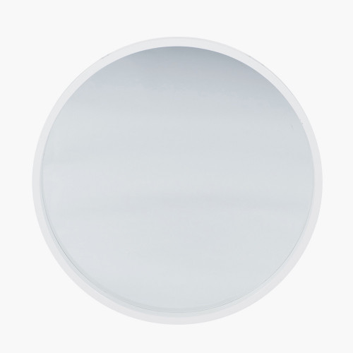 Glossy White Wood Round Wall Mirror