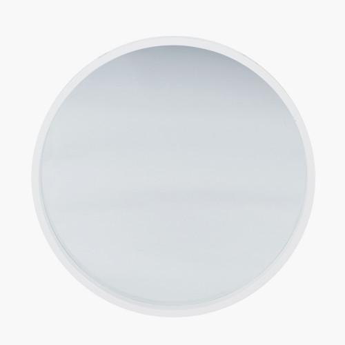 Glossy White Wood Round Wall Mirror