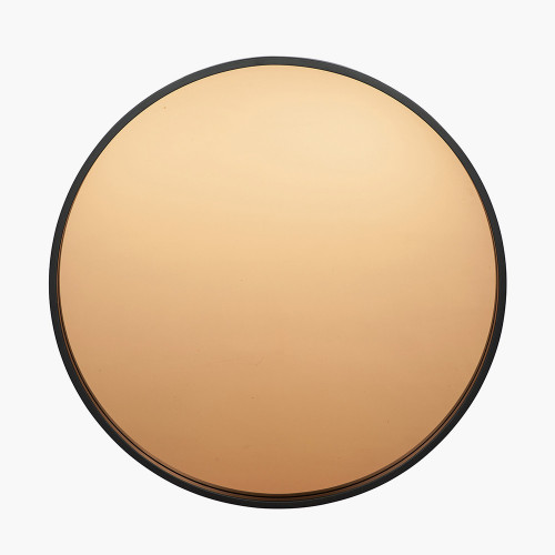 Matt Black Wood Round Mirror w/Copper Glass