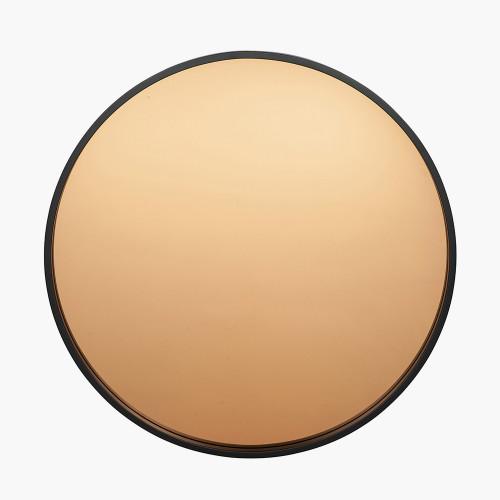Matt Black Wood Round Mirror w/Copper Glass