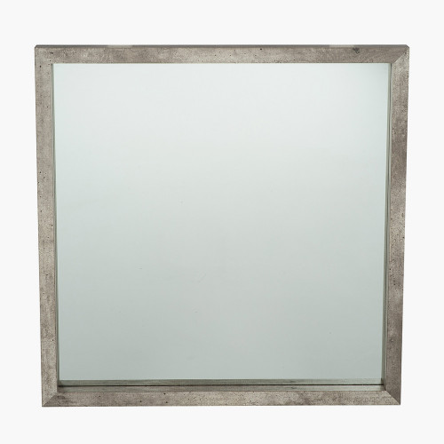 Concrete Effect Wood Veneer Square Mirror Small