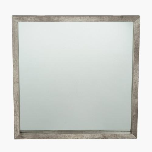 Concrete Effect Wood Veneer Square Mirror Small