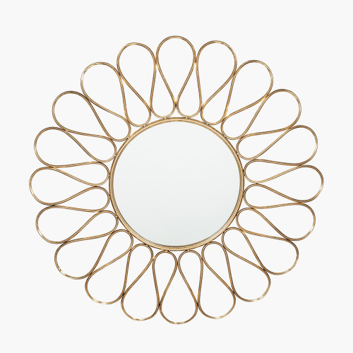 Antique Gold Metal Petal Design Round Wall Mirror