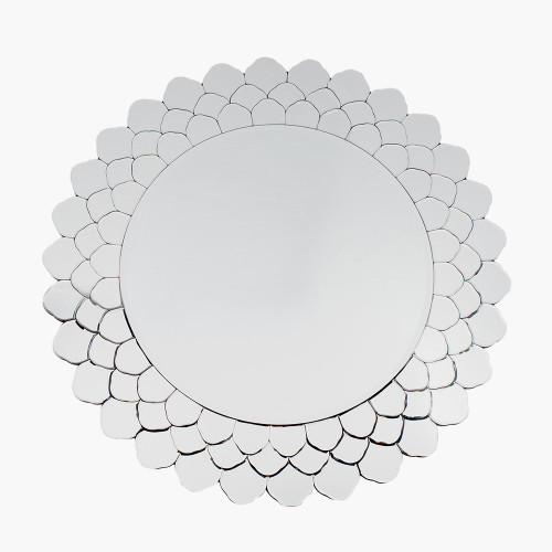 Clear Layered Glass Round Wall Mirror