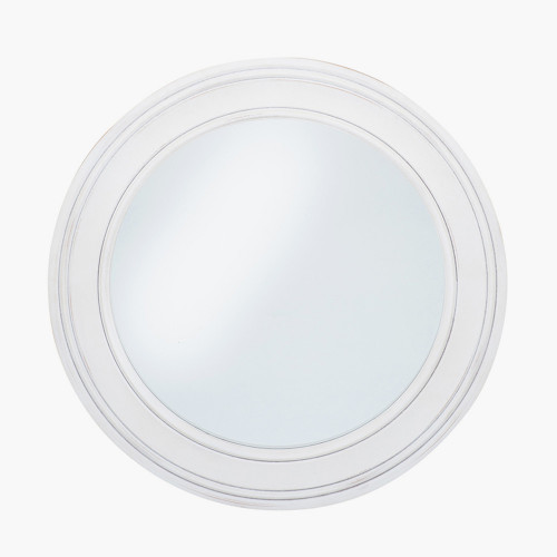 Washed White Wood Round Wall Mirror Small