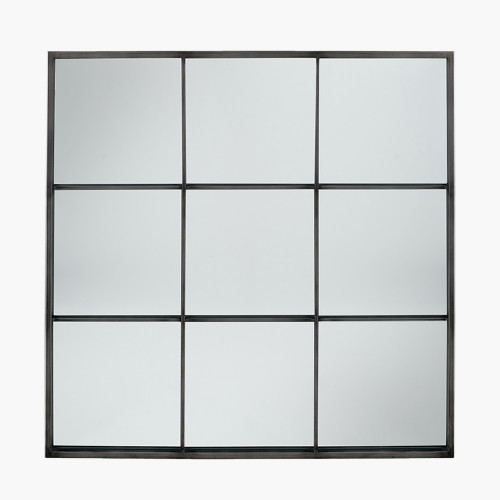 Antique Silver Metal 9 Section Square Wall Mirror