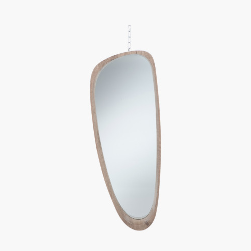 Natural Wood Veneer Teardrop Wall Mirror