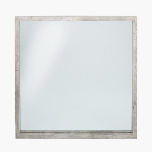Concrete Effect Wood Veneer Square Mirror Large