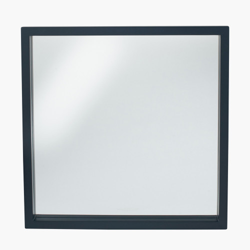 Matt Black Wood Veneer Square Mirror