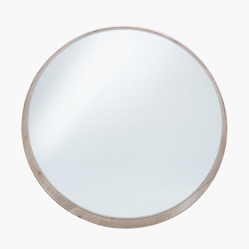 Natural Wood Veneer Round Wall Mirror