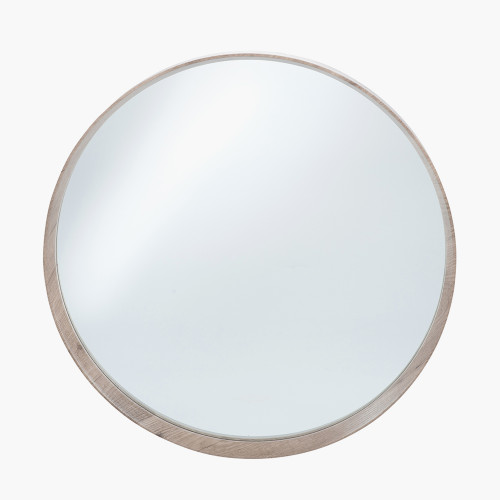 Natural Wood Veneer Round Wall Mirror