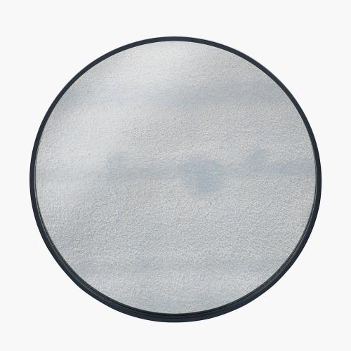 Matt Black Wood Veneer Round Mirror w/Foxed Glass