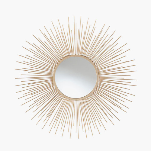 Gold Metal Starburst Round Wall Mirror