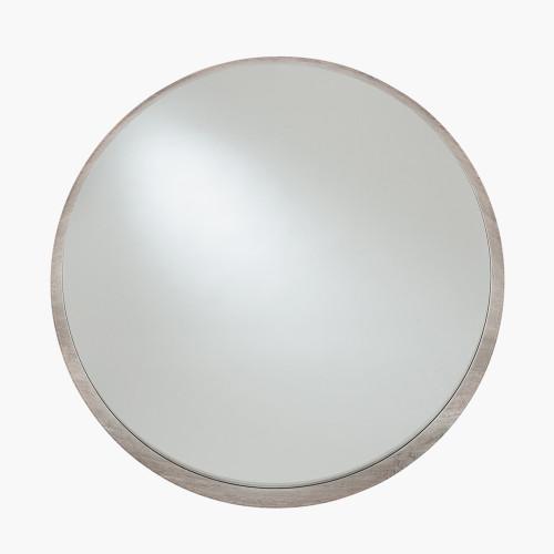 Grey Oak Wood Veneer Round Wall Mirror
