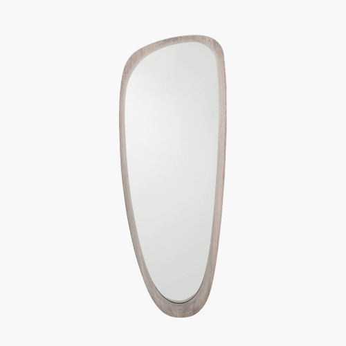 Grey Oak Wood Veneer Teardrop Wall Mirror