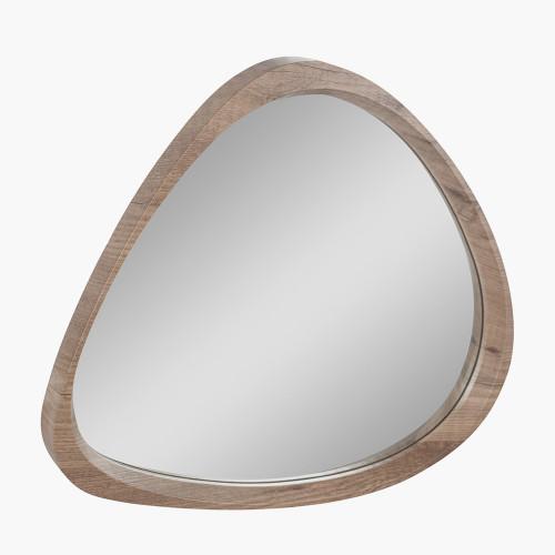 Dark Wood Veneer Curved Wall Mirror