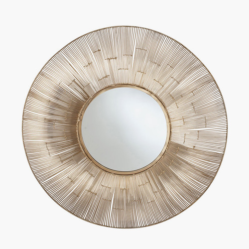 Gold Metal Wire Round Wall Mirror