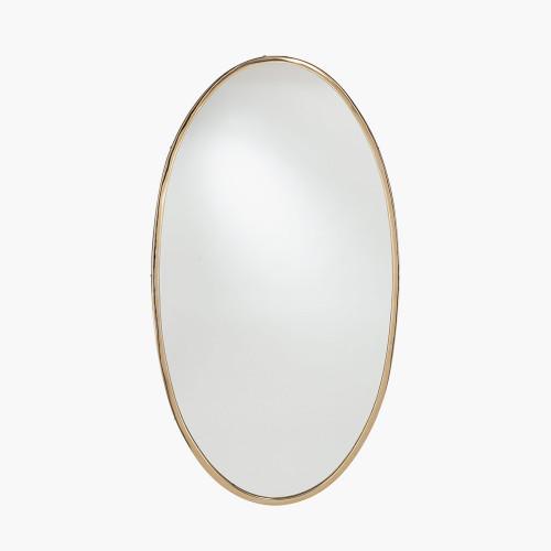 Gold Metal Oval Wall Mirror