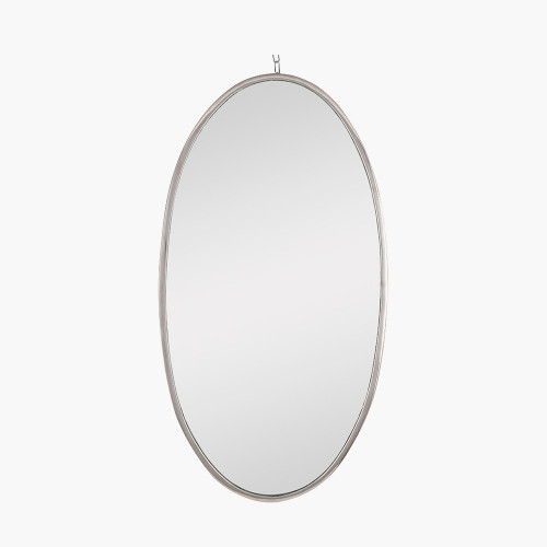 Silver Metal Oval Wall Mirror