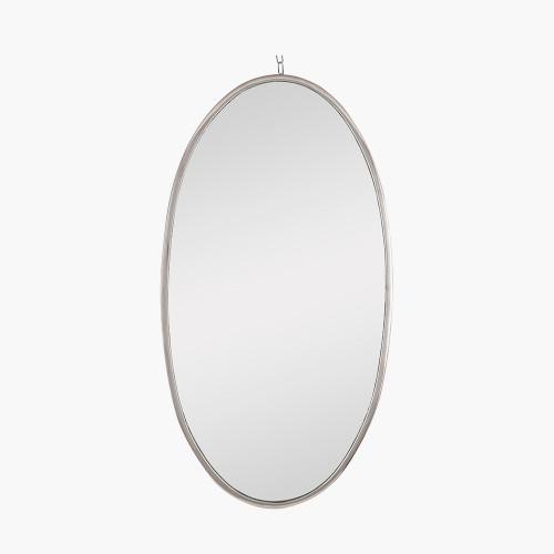 Silver Metal Oval Wall Mirror