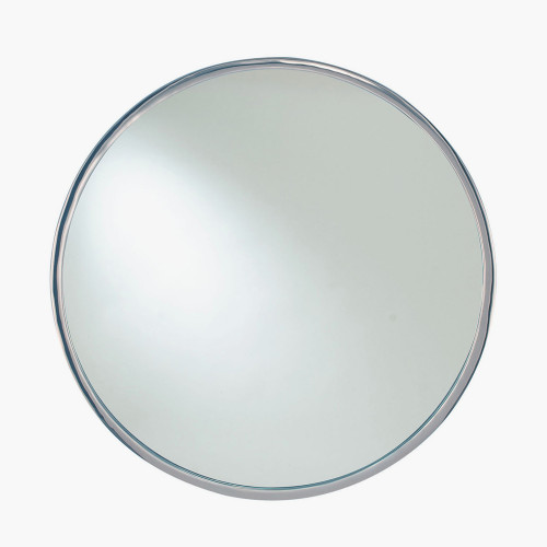 Silver Metal Round Wall Mirror