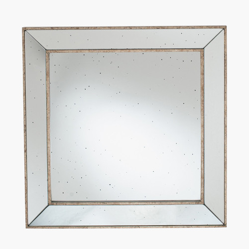 Antique Gold Metal and Foxed Glass Square Mirror