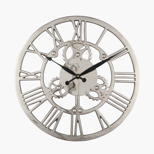 Shiny Nickel Cog Design Round Wall Clock Small