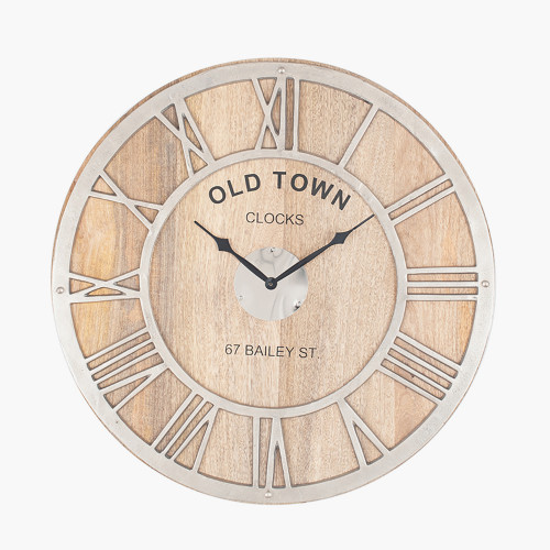 Raw Nickel & Mango Wood Round Wall Clock