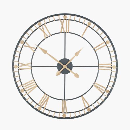Antique Bronze & Gold Metal Round Wall Clock