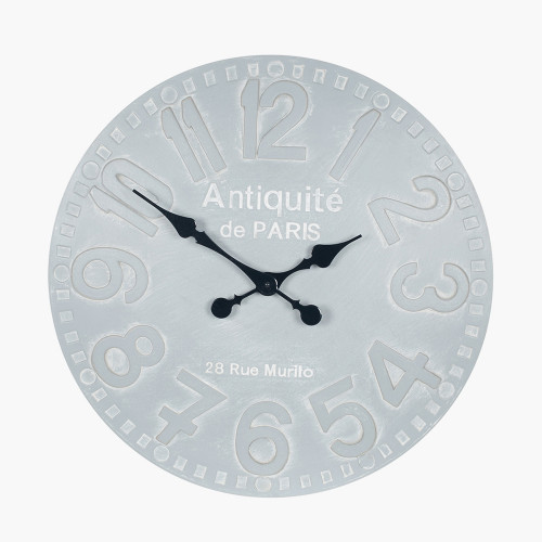 Stone Grey Wood Round Wall Clock