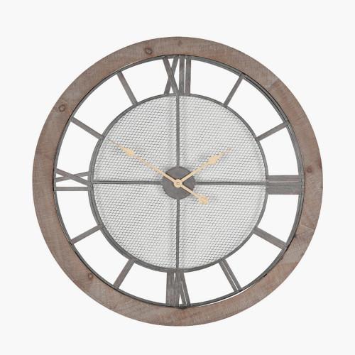 Natural Wood & Metal Round Wall Clock