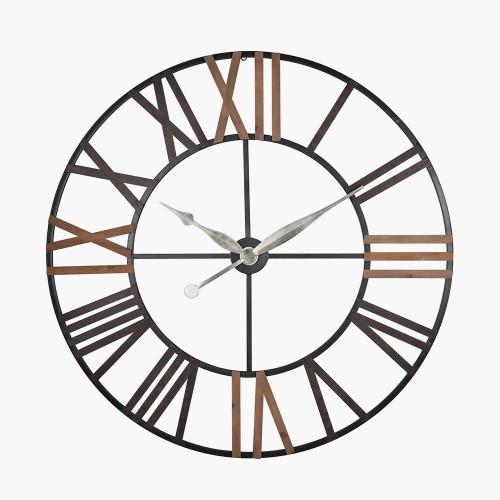 Antique Grey Metal & Wood Round Wall Clock