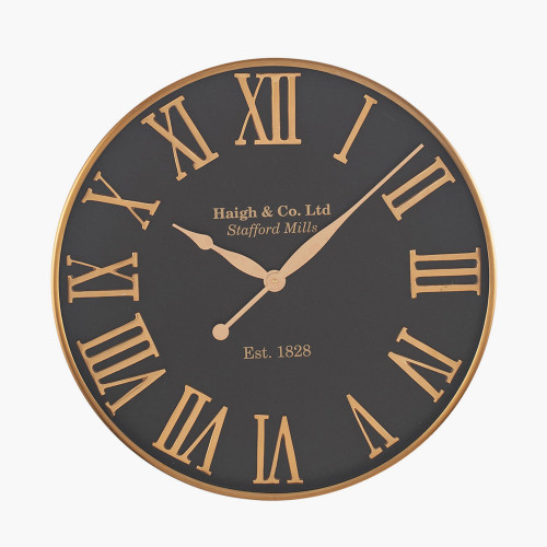 Antique Gold & Black Metal Round Wall Clock
