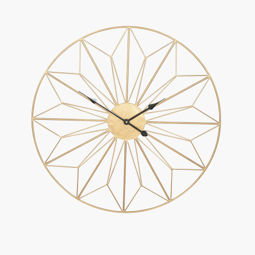 Antique Gold Metal Geo Design Round Wall Clock