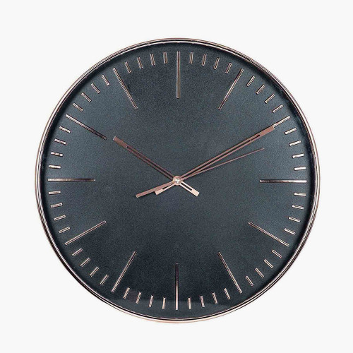 Copper & Black Round Wall Clock