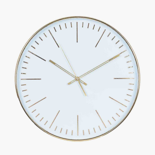 Gold & White Round Wall Clock