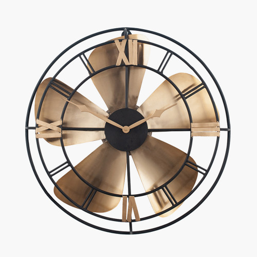 Antique Brass & Black Metal Fan Design Wall Clock