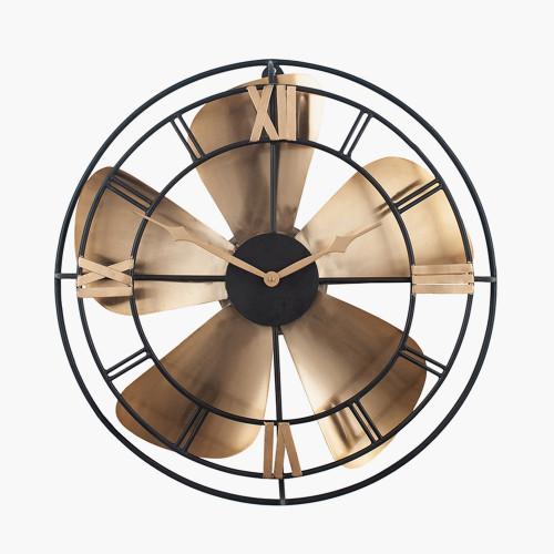 Antique Brass & Black Metal Fan Design Wall Clock