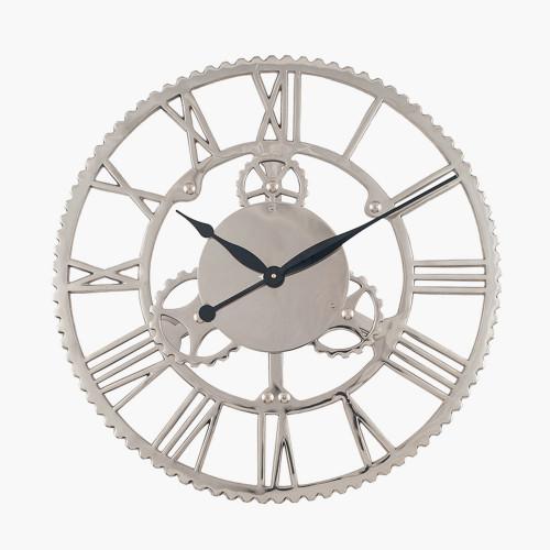Shiny Nickel Cog Design Round Wall Clock Large