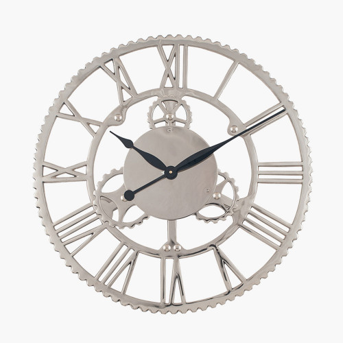 Shiny Nickel Cog Design Round Wall Clock Large