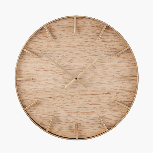 Gold Metal and Natural Wood Round Wall Clock