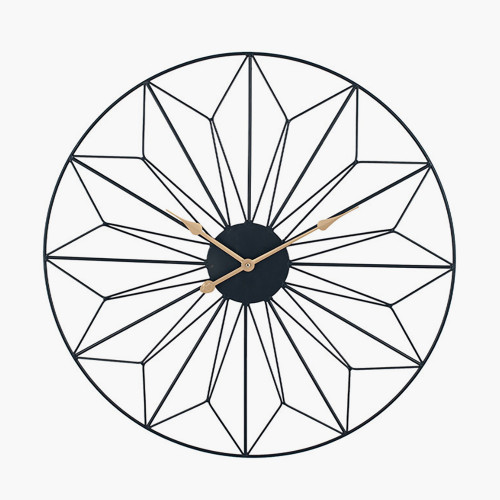 Black and Gold Metal Geo Design Round Wall Clock