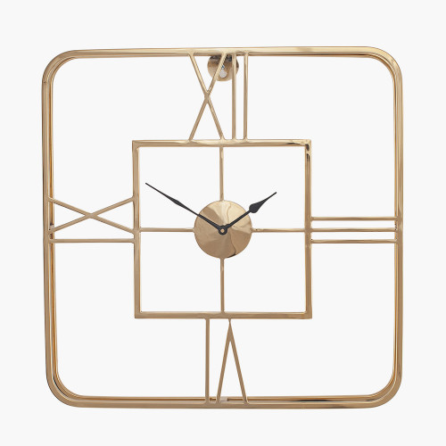 Gold Metal Square Wall Clock